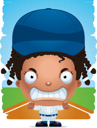 A cartoon illustration of a girl baseball player with an angry expression.
