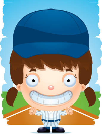 A cartoon illustration of a girl baseball player smiling.