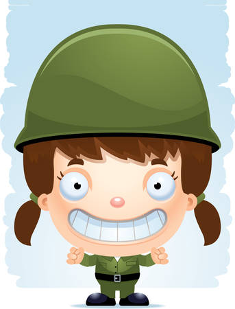 A cartoon illustration of a girl soldier smiling.