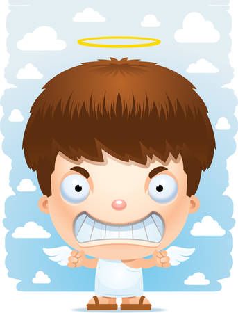 A cartoon illustration of a angel boy with an angry expression. 向量圖像
