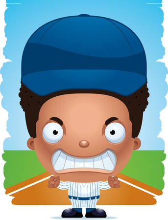 A cartoon illustration of a boy baseball player with an angry expression. Illustration