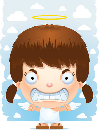 A cartoon illustration of a angel girl with an angry expression. Illustration