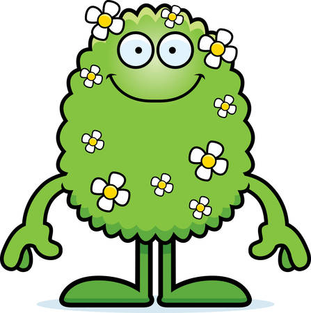 A cartoon illustration of a plant monster smiling.