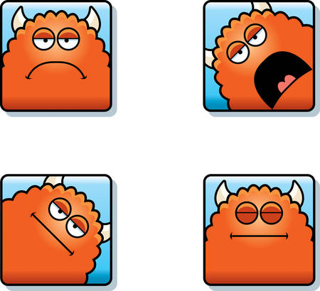 A cartoon icon set of a monster with sad and calm expressions. Illustration