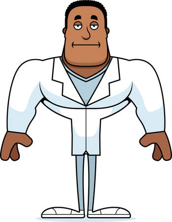 A cartoon doctor looking bored. Çizim