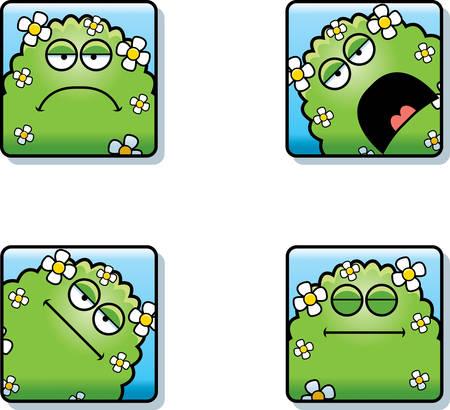 A cartoon icon set of a plant monster with sad and calm expressions. Stock Illustratie