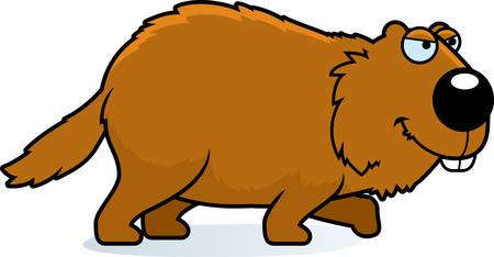 A cartoon illustration of a woodchuck stalking.