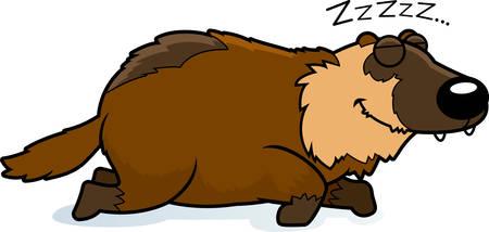 A cartoon illustration of a wolverine sleeping. Illustration