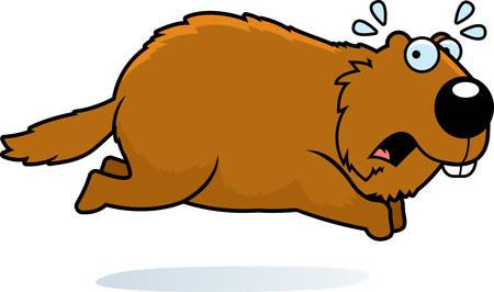 A cartoon illustration of a woodchuck running away. Illustration