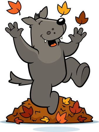 A cartoon illustration of a wolf jumping in autumn leaves.