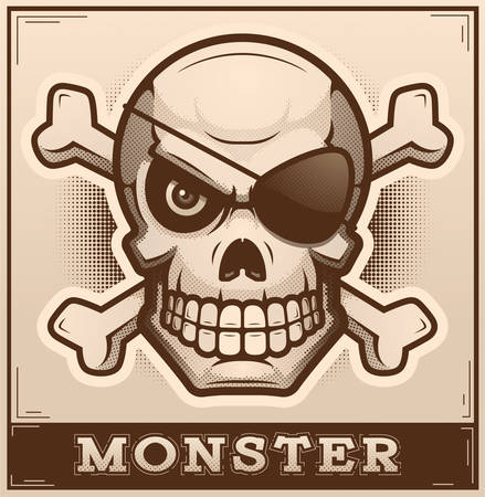 An illustration of a skull and crossbones on a poster. Illusztráció