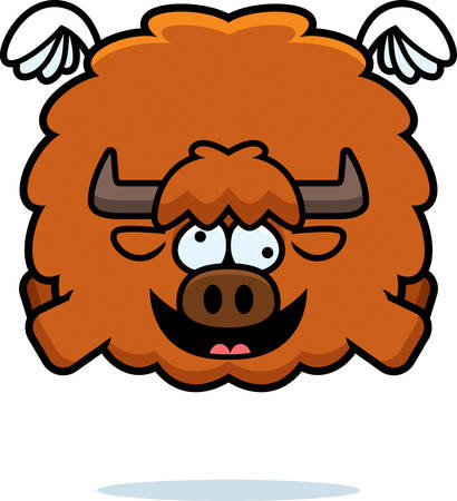 A cartoon illustration of a yak looking crazy. Ilustrace
