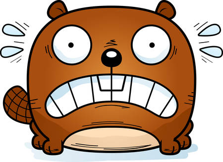 A cartoon illustration of a beaver looking terrified.