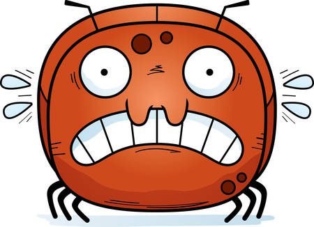 A cartoon illustration of a ant looking scared.