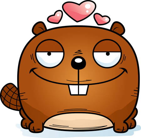 A cartoon illustration of a beaver in love.