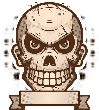 An illustration of a zombie with banner. Illustration