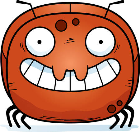 A cartoon illustration of a ant looking happy.