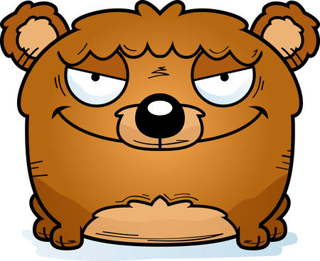 A cartoon illustration of a bear cub with a sly expression.