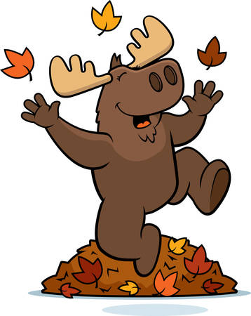 A cartoon illustration of a moose jumping in autumn leaves. Ilustração