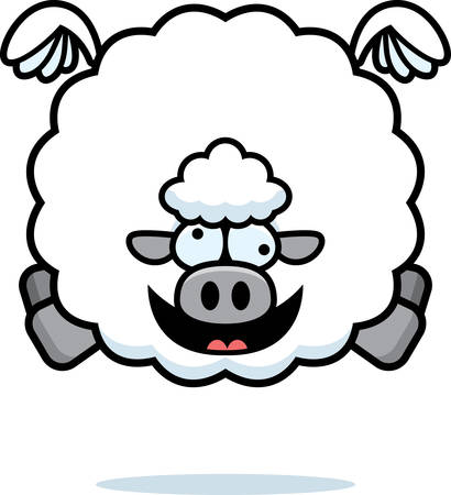 A cartoon illustration of a sheep looking crazy.