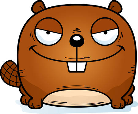 A cartoon illustration of a sinister looking beaver.