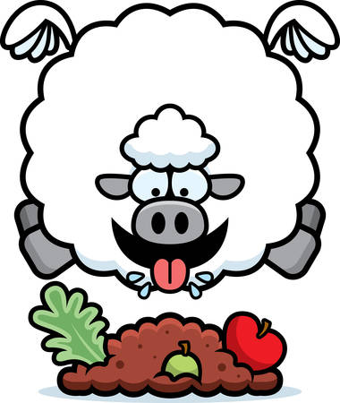 A cartoon illustration of a sheep eating.