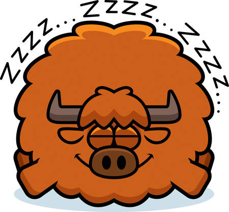 A cartoon illustration of a yak sleeping. Banque d'images - 101613754
