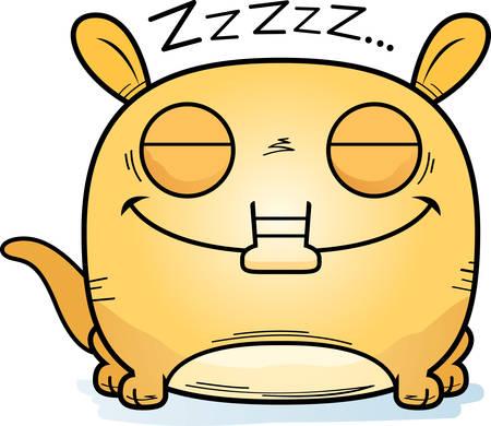 A cartoon illustration of a little aardvark taking a nap. Illustration