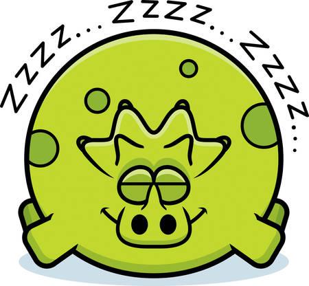 A cartoon illustration of a triceratops sleeping.