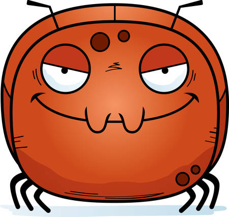 A cartoon illustration of an evil looking ant. Illustration