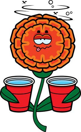 A cartoon illustration of a marigold looking drunk.