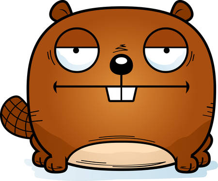 A cartoon illustration of a beaver looking calm.