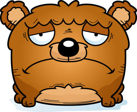 A cartoon illustration of a bear cub with a sad expression. Иллюстрация