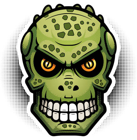 An illustration of a reptilian looking evil.