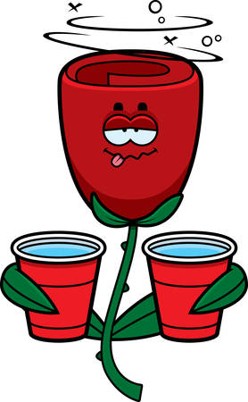 A cartoon illustration of a rose looking drunk.