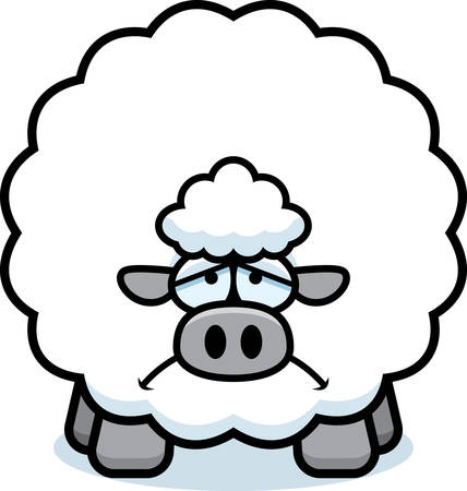 A cartoon illustration of a sheep looking sad.