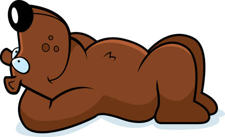 A cartoon illustration of a bear laying down and resting.