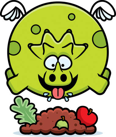 A cartoon illustration of a triceratops eating.