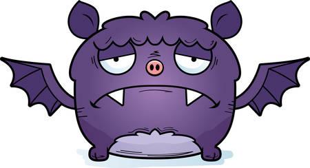A cartoon illustration of a bat looking depressed. Illustration