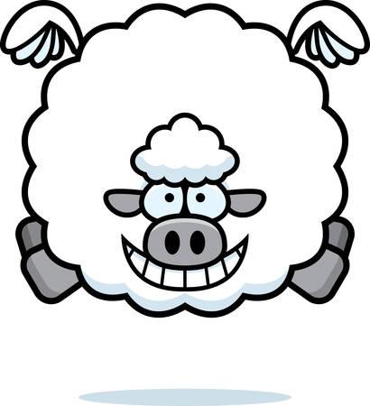 A cartoon illustration of a sheep flying.