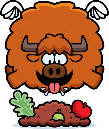A cartoon illustration of a yak eating.