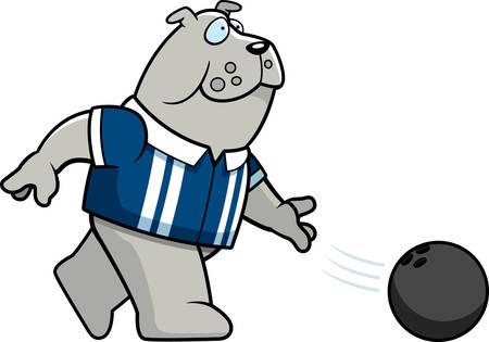 A cartoon illustration of a bulldog bowling a ball.