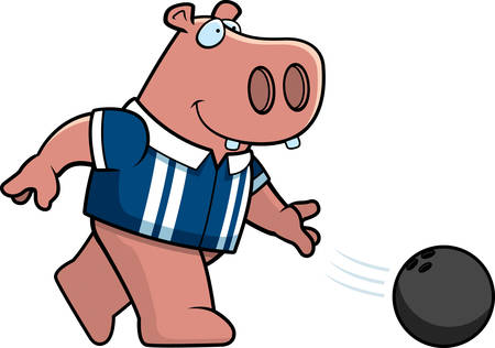 A cartoon illustration of a hippo bowling a ball.