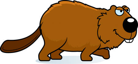 A cartoon illustration of a beaver stalking.