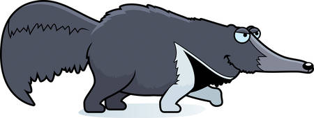 A cartoon illustration of an anteater stalking.