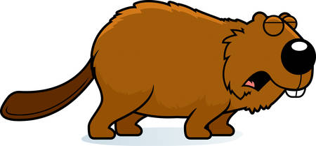 A cartoon illustration of a beaver howling. Çizim