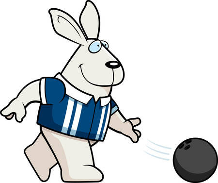 A cartoon illustration of a rabbit bowling a ball. Illustration