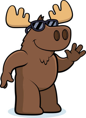 A cartoon illustration of a moose wearing sunglasses.