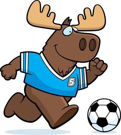 A cartoon illustration of a moose playing soccer. Illusztráció