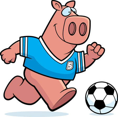 A cartoon illustration of a pig playing soccer.
